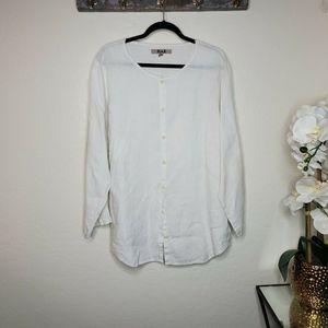 Flax Size Medium White Linen Button Down Shirt